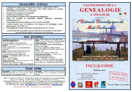 Programme Journées de Généalogie 2017